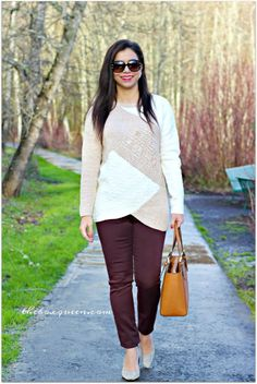 Trunk Club December Review, Trunk Club Style, Winter Fashion, Winter Style, Two Toned Sweater, Burgundy Pants, Tory Burch Buckle Tote, Winter Outfits