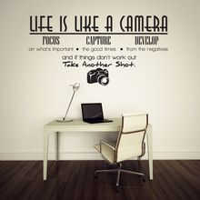 Life is like a camera quote wall stickers adesivo de parede vinyl wall stickers home decoration wallpaper wall sticker(China (Mainland))