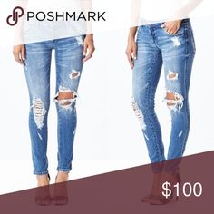 Destroyed Mid-Rise Denim Gorgeous + flattering skinny jeans with manufactured distressing. Mid-rise. Perfect amount of stretch! Run true to size. 98% cotton / 2% spandex. Wash is best represented in second & third to last photos.   Please see the last photo for size chart  ▪️NO TRADES  ▪️PRICE FIRM JV Boutique  Jeans Skinny