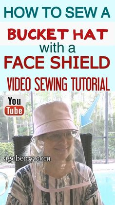 DIY face shield - a video sewing tutorial on how to sew a bucket hat pattern with a transparent shield made from clear vinyl. I made a sewing pattern in two sizes - adult and child. The project is eas Sewing Projects For Beginners, Sewing Tutorials, Sewing Hacks, Easy Sewing Projects, Sewing Tips, Easy Face Masks, Diy Face Mask, Homemade Face Masks, Hat Patterns To Sew