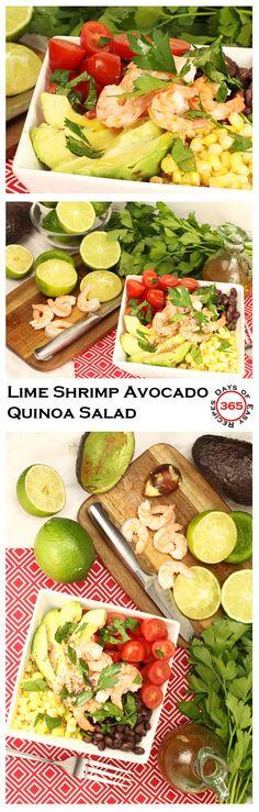Healthy Lime Shrimp Avocado Quinoa Salad Recipe that's quick to put together | 365 Days of Easy Recipes