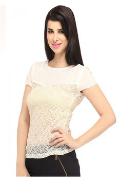 Sheer Neck Detailing Lace Top By Ozel Studio