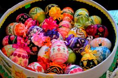 Polish knitted eggs