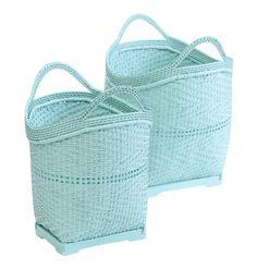 Large Bamboo Basket Mint