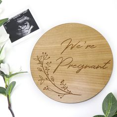 Engraved Timber Pregnancy Announcement Round Sign - Laser Engraved Cherry Timber Rough Day, Easy Day, Secret Santa Gifts, Pregnancy Photos, Getting Old, Laser Engraving, Announcement, Cherry, How Are You Feeling