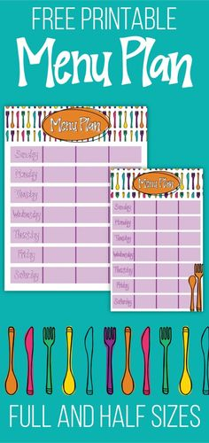 Free printable meal planner - available in both full size and half size.