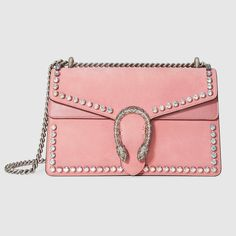 GUCCI Dionysus suede shoulder bag with crystals - light pink peony suede. #gucci #bags #shoulder bags #hand bags #lining #suede #crystal #