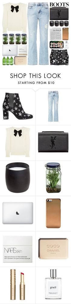"""Girl's Night"" by igedesubawa ❤ liked on Polyvore featuring Yves Saint Laurent, 7 For All Mankind, H&M, Alöe, NARS Cosmetics, Chanel, Stila, philosophy, contest and girlsnightout"
