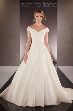 Off-the-shoulder a-line satin wedding dress by Martina Liana, Fall 2015