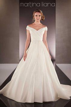 Off-the-shoulder a-line satin wedding dress by Martina Liana, Fall 2015