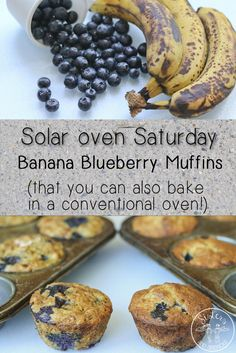 These Banana Blueberry Muffins are a great way to use up bananas that need some love, and are delicious! Best part: you can also bake them in your conventional oven!