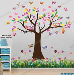 Hibou Arbre À Fleurs Papillon Herbe Autocollant Mural Papier Art Décalque   eBay