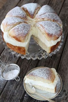 Also known as semla, this is a traditional Swedish dessert served on Mardi Gras. The bun cake is flavored with cardamom and filled with almond paste and orange-studded whipped cream. Just Desserts, Delicious Desserts, Yummy Food, Brownie Desserts, Healthy Food, Baking Recipes, Cake Recipes, Dessert Recipes, Swedish Recipes