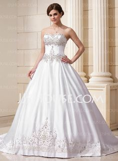 Wedding Dresses The one I want... A-Line/Princess Sweetheart Chapel Train Satin Wedding Dresses With Embroidery Lace Beadwork (002011761) http://jjshouse.com/A-Line-Princess-Sweetheart-Chapel-Train-Satin-Wedding-Dresses-With-Embroidery-Lace-Beadwork-002011761-g11761