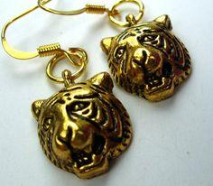 Gold Tiger Earrings