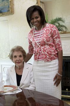 First Ladies Nancy Reagan and Michelle Obama-Regardless of disagreeing w many Presidents I think our First Ladies have always been wonderful!