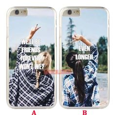 Girls Fashion Best Friends Clear Hard Case for iPhone 5s 6S 7 & Samsung Galaxy