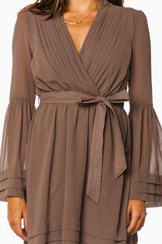 Rorey Wrap Dress in Mocha