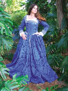 Blue Brocade Renaissance Wedding Gown