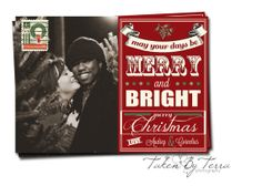 Vintage Merry and Bright Christmas Card (5x7)