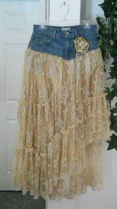 Belle Bohémienne squisito pizzo beige vintage funky frou frou gonna di Boemia jean rinascimentale Denim Couture su ordinazione