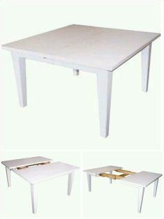 Table carré 130cm avec deux rallonges de 40cm