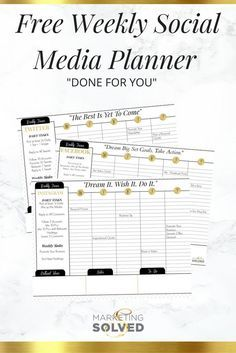 Social Media Weekly Planners - Done For You. These free printables will tell you exactly how to manage your weekly social media planning. Find more stuff: dynamicwebmarketi...