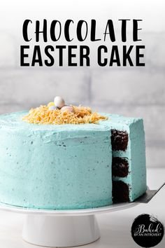 This Easter cake is the perfect festive dessert to accompany your Easter dinner. It's a fun recipe for the whole family to make together, kids will love decorating the top with coconut and chocolate eggs. Easy Homemade Cake, Homemade Cake Recipes, Baking Recipes, Dessert Recipes, Decadent Chocolate, Chocolate Flavors, Chocolate Easter Cake, Egg Cake, Easy Holiday Recipes