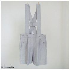 Boys Shorts - Gray cotton short overalls - Shortalls with H bar suspenders- str 74/80