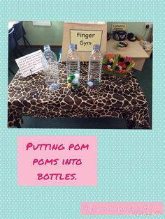 Pushing pom poms into bottles. Really tricky fine motor skill to get them out! We linked this with our learning about capacity in maths. Fine Motor Activities For Kids, Eyfs Activities, Nursery Activities, Motor Skills Activities, Gross Motor Skills, Maths Eyfs, Numeracy, Reggio, Fine Motor Skills Development