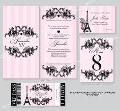 Paris theme quinceanera or quince años invitation