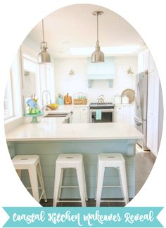 Love this layout. Nearly ideal! (Might switch sink and stove locations, but then again, might not!) Come on over and tour this complete kitchen makeover: a coastal style white shaker kitchen makeover with lots of beautiful turquoise and aqua accents and DIY projects.