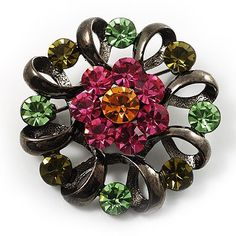 Vintage Crystal Floral Brooch (Black) Avalaya. $21.33. Style: vintage. Gemstone: swarovski crystal. Theme: floral, wreath. Metal Finish: black tone. Occasion: anniversary, mothers day, cocktail party