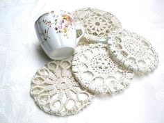 Shabby chic coasters Crochet Lace Cup Coasters Table home decor Country French Antique coasters Holiday decor Lace crochet ornaments USD) by MINTOOK Crochet Lace, Free Crochet, Tea Coaster, Fabric Coasters, Crochet Ornaments, Antique Lace, Decoration Table, Crochet For Kids, Shabby Chic Decor