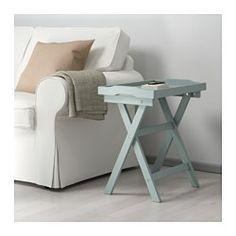 IKEA - MARYD, Tavolino vassoio, verde, , Puoi mettere via il tavolo facilmente quando non ti serve, perché è pieghevole.Puoi usare il vassoio asportabile per servire caffè, stuzzichini o altro.Il vassoio ha un bordo largo e lati alti che ne facilitano il trasporto ed evitano che il contenuto si rovesci.