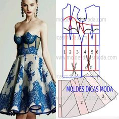 MOLDE VESTIDO GODES Diy Clothing, Sewing Clothes, Clothing Patterns, Sewing Patterns, Fashion Sewing, Diy Fashion, Ideias Fashion, Fashion Dresses, Fashion Tips