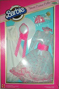 Barbie outfit. White flowing dress with pink sash, sun hat & shoes