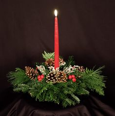Christmas Centerpieces with Candles | Balsam Fir 1-Candle Centerpiece