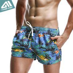 New Fashion Breathable Men's Shorts Summer Sport Elastic Waist Men's Board Shorts Leisure Pattern Print Surf Beach Short