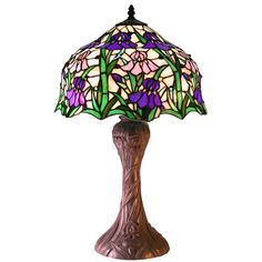 Tiffany Style Stained Glass Iris Table Lamp 2380+BB664