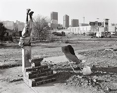 David Goldblatt, 'Abraham Thipe with one of his arrangements and his deckchair', Newtown, 14 August 1990. Image courtesy of the artist. (a model brick: a literary history of the brick in johannesburg – House and Leisure)