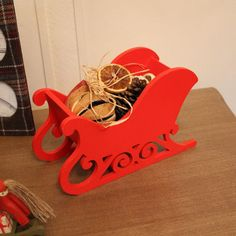 Red wooden Christmas Santa sleigh sledge decoration free standing storage