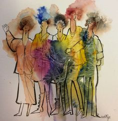 Watercolor and line Drawing For Kids, Children Drawing, Watercolor Tattoo, Art Watercolour, Drawing Sketches, Drawings, Painting People, Rye, Abstract