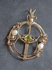 Vesica Piscis Pendant Gold Filled with Peridot