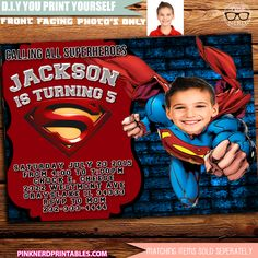 Superman Birthday invitation Cut-out Superman