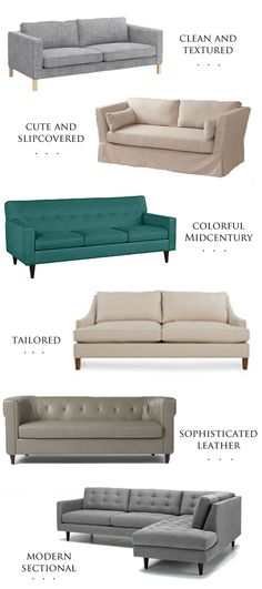 Affordable sofas in different styles.