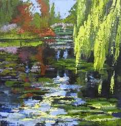 Monets Garden Painting Palette Knife Painting  - Monets Garden Painting Palette Knife Fine Art Print