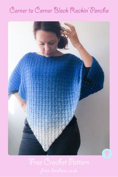 Free Crochet Pattern for the Corner to Corner (c2c) Block Rockin Poncho. Easy poncho pattern for beginner crocheters, made for children or adults using almost any yarn. #crochetpattern #freecrochetpattern #crochetponcho #cornertocorner #c2c Crochet Poncho Patterns, C2c Crochet, Crochet Patterns For Beginners, Crochet For Kids, Crochet Shawl, Free Crochet, Beginner Crochet, Scarf Patterns, Crochet Tops