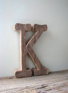 Wooden Letter K, Unfinished Barn Wood Letter, Decorative Wood Wall Letters