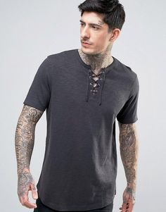 d7ce96161 Asos Longline T-Shirt With Lace Up Neck In Textured Fabric With Curve Hem  Asos